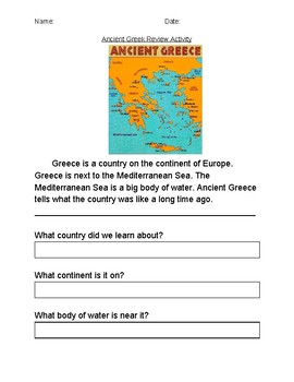 Ancient Greece Review Activity