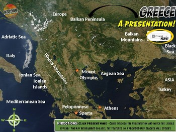 Ancient Greece Satellite Map Physical Geography PowerPoint Introduction