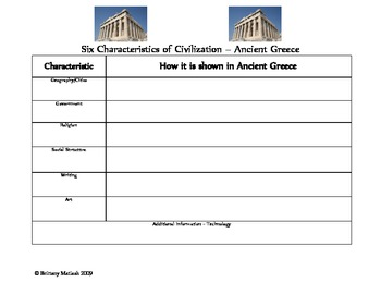 Ancient Greece - Six Characteristics of Civilization