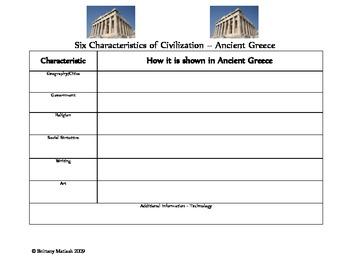 Ancient Greece - Six Characteristics of Civilization