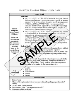 Ancient Greece Society: Lesson and Project Pack