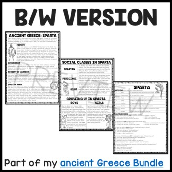 Ancient Greece: Sparta Reading Comprehension Worksheet; Greek
