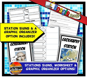 Ancient Greece Stations with Key Questions Graphic Organizer or Task Cards