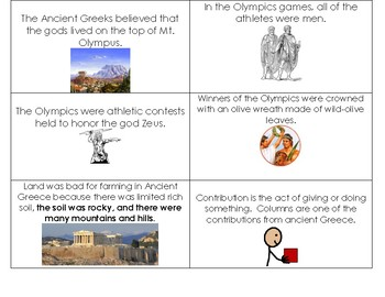 Ancient Greece Study Cards FREE  Special Education & Autism