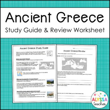 Ancient Greece Study Guide and Review Worksheet
