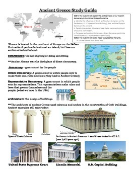 Ancient Greece Study Guide for Georgia Performance Standard SS3H1 and SS3G1