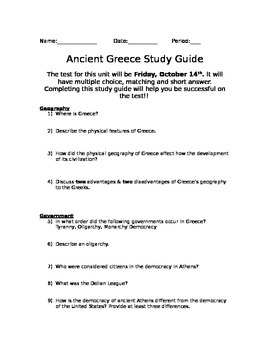 Ancient Greece Study Guide with Key
