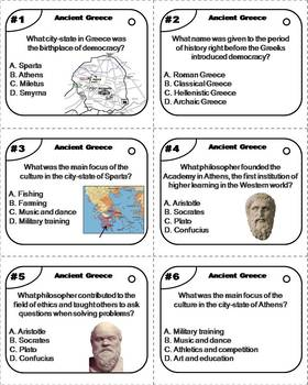 Ancient Greece Task Cards