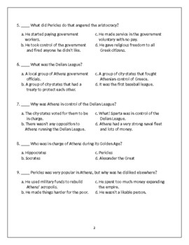 Ancient Greece Test - 6th Grade Social Studies