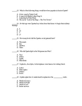 Ancient Greece Test - Answer Key Included