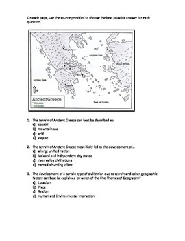 Ancient Greece Test - standardized test questions
