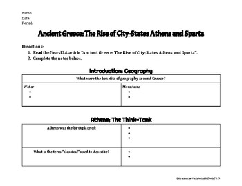 Ancient Greece: The Rise of City-States Athens and Sparta NewsELA Reading Guide