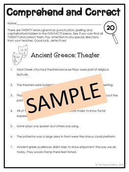 Ancient Greece: Theater (Comprehend and Correct)