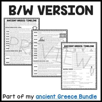 Ancient Greece: Timeline Reading Comprehension Worksheet; Greek