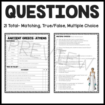 Ancient Greece Athens Reading Comprehension Worksheet