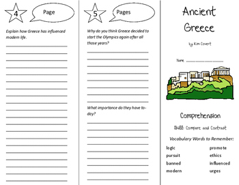 Ancient Greece Trifold - Storytown 6th Grade Unit 5 Week 1