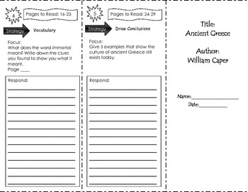 Ancient Greece Trifold Unit 1 Benchmark Literacy Grade 3