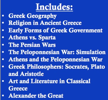 Ancient Greece Unit Bundle - 10 lessons; 92 pages of material!