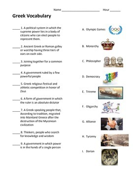 Ancient Greece Unit Vocabulary Test (with pictures)