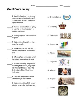 Ancient Greece Unit Vocabulary Test (with pictures) *Modified*