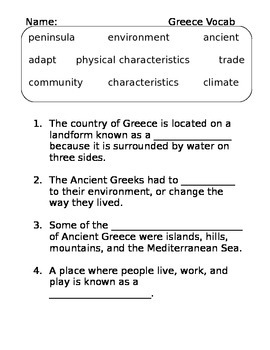 Ancient Greece Vocabulary Quiz