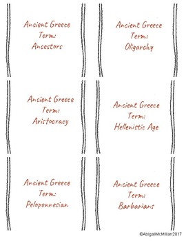 Ancient Greece Vocabulary Speed Dating