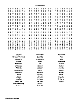 Ancient Greece Vocabulary Word Search For World History