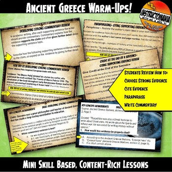 Ancient Greece Warm-Ups Skill Based, Content Mini Lessons