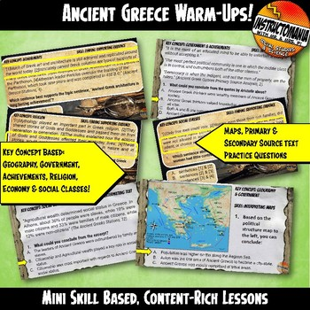 Ancient Greece Warm-Ups Skill Based, World History Mini Lessons & Bell Ringers