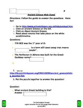 Ancient Greece Webquest