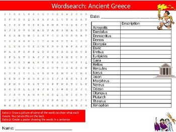 Ancient Greece Wordsearch Puzzle Sheet Keywords Greek Ancient History