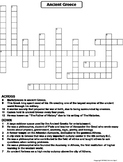 Ancient Greece Worksheet/ Crossword Puzzle
