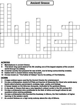 Ancient Greece Worksheet/ Crossword Puzzle by Science Spot | TpT