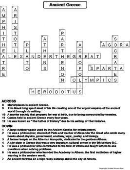 Ancient Greece Worksheet/ Crossword Puzzle