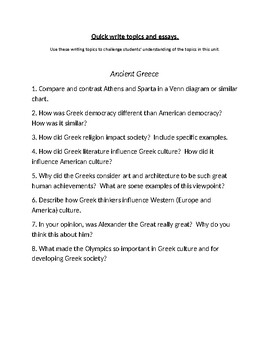 Ancient Greece Writing Topics and Essay Questions