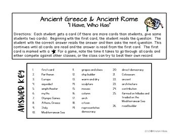 """Ancient Greece and Ancient Rome """"I Have, Who Has"""""""
