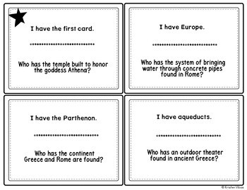 "Ancient Greece and Ancient Rome ""I Have, Who Has"" Review Game"