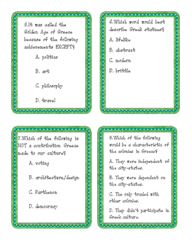 Ancient Greece and Ancient Rome Task Cards