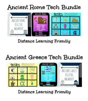 Ancient Greece and Ancient Rome Breakout, Hyperdoc, & Choice Board Bundle