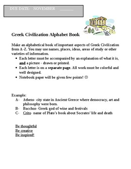 Ancient Greece- culminating activity- ABC book
