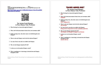 Ancient Greece in Four Minutes Video Worksheet Collection