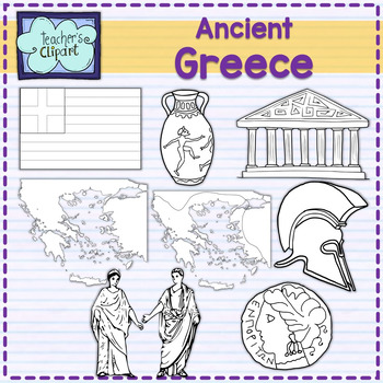 Ancient Greece map and art clipart