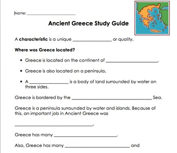 Ancient Greece Power Point and Study Guide
