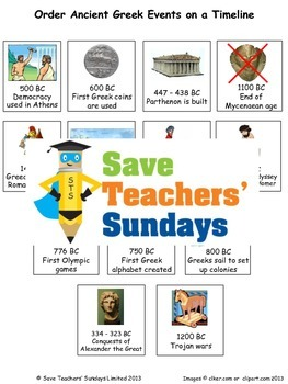 Ancient Greece timeline Lesson plan and Worksheet / Activity