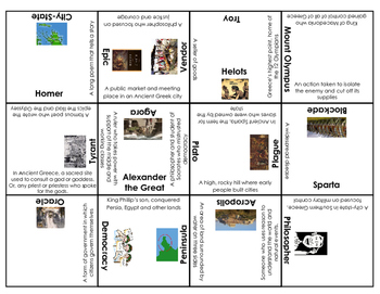 Ancient Greece vocabulary, people and places puzzle (S.S. Framework Aligned)