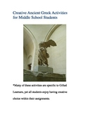 Ancient Greek Activities for Upper Elementary or Middle School Students