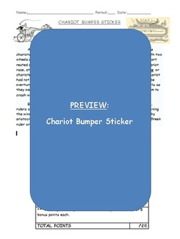 Ancient Greek Chariot Bumper Sticker Project