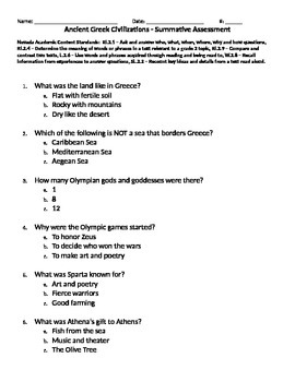 Ancient Greek Civilizations - Summative Assess. - EngageNY Listening - Domain 3