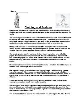 Ancient Greek Clothing and Fashion Worksheet