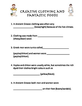 Ancient Greek Clothing and Food